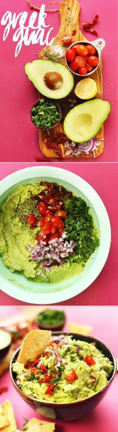 EASY GREEK-inspired GUACAMOLE! Sun-dried + fresh tomatoes, red onion, oregano, and lemon! Quick, flavorful snack!