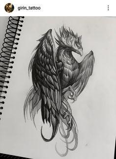 Phoenix Bird Tattoos, Phoenix Tattoo Design, Tattoo Sketches, Tattoo Drawings, Graffiti Numbers, Cute Easy Animal Drawings, Fenix Tattoos, Phoenix Drawing, Mechanic Tattoo