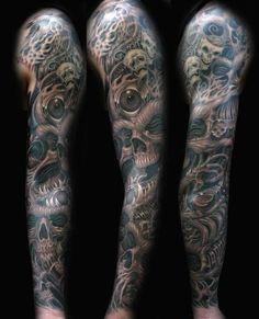 Biomech Skull Sleeve Tattoo by Joe Riley : Tattoos Black Sleeve Tattoo, Skull Sleeve Tattoos, Full Sleeve Tattoo Design, Best Sleeve Tattoos, Arm Tattoos, Tattoo Sleeves, Arm Sleeves, Tattoo Arm, Trendy Tattoos