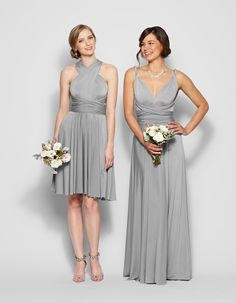 Henkaa convertible bridesmaid gowns shown in grey