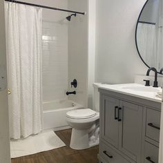 Small Full Bathroom, Small White Bathrooms, Small Bathroom Mirrors, Small Bathroom Ideas, Simple Bathroom, Gray And White Bathroom Ideas, Basement Bathroom Ideas, Easy Bathroom Updates, Small Bathroom Interior
