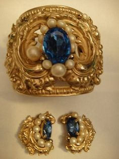 Vintage Costume Jewelry Signed Napier Bracelet and Earrings