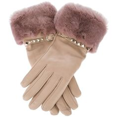 VALENTINO GARAVANI 'Rockstud' fur trim gloves ($456) ❤ liked on Polyvore featuring accessories, gloves, luvas, valentino, fur trimmed gloves, valentino gloves, fur trimmed leather gloves, leather gloves and studded leather gloves
