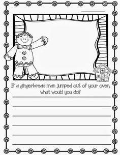 Christmas Writing Prompts, Kindergarten Writing Prompts, 1st Grade Writing, Writing Workshop, Writing Activities, Literacy, Class Activities, Writing Ideas, Gingerbread Man Activities