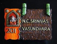 Designer & ethinic Name Plates Wooden Name Plates, Door Name Plates, Name Plates For Home, Personalized Name Plates, Name Board Design, Name Plate Design, Name Boards, Mural Art, Murals