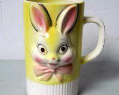 Vintage ceramic porcelain Easter Rabbit mug Made in Japan