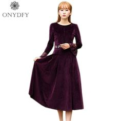 2017 New Autumn Winter Velvet Dress For Women Long Sleeve With Lace Ethnic Vintage Embroidery Party Dresses Pleated Vestidos
