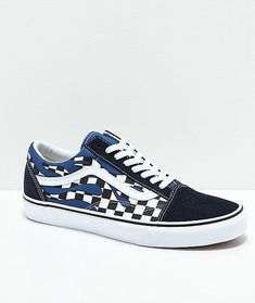 0099429999 Vans Old Skool Checkerboard Flame Navy White Skate Shoes Men s Sz 6.5 Wmn s  Sz 8