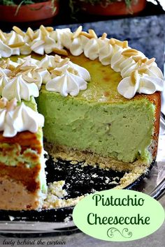Pistachio Cheesecake: 3 packages of cream cheese, softened 1 can ounces) sweetened condensed milk 2 packages ounces each)instant pistachio pudding mix 5 eggs garnish with whip cream and almond slivers ( Dessert Crepes, Oreo Dessert, No Bake Desserts, Just Desserts, Delicious Desserts, Pistachio Cheesecake, Cheesecake Recipes, Pistachio Pudding Cake, Pistachio Recipes
