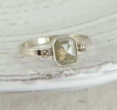Rose Cut Diamond Engagement Ring by PointNoPointStudio on Etsy