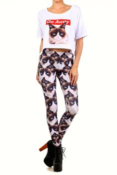 """Grumpy Cat Leggings - POPRAGEOUS - Are you sure I can't justify these? Because then I could say """"I'm going to go put on my grumpy pants"""". It would be hilarious!"""