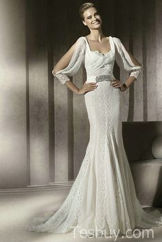 Drapping Sleeves Wedding Dress With Beading Details And Squaree Neckline.jpg (487×730)
