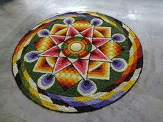 Rangoli Designs Flower, Rangoli Designs Images, Flower Rangoli, Onam Pookalam Design, Rangoli Colours, Diwali Decorations, Carpet, Wallpaper, Floral