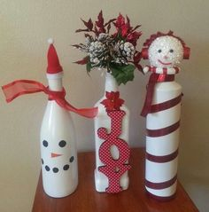 wine bottle crafts for christmas | Christmas Wine Bottles... love the one in the middle