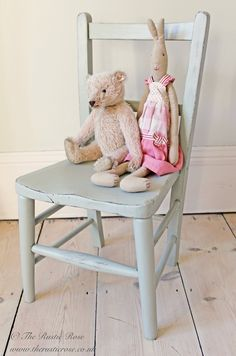 Little #vintage child's chair painted in #Farrow #FrenchGrey