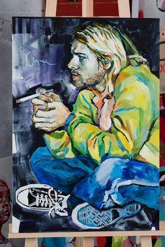 Kurt Cobain/ oil painting on canvas Kurt Cobain Painting, Kurt Cobain Art, Pop Art Drawing, Painting & Drawing, Art Drawings, Nirvana Art, Abstract Portrait Painting, Weird Art, Artist Art