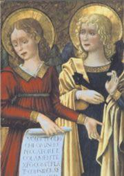 Benedetto Bonfigli - Angeli con cartiglio e chiodi - Perugia,Galleria Nazionale dell'Umbira