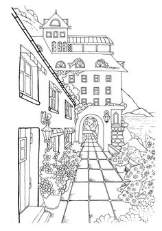 Nice Little Town 2 (Adult Coloring Book, Digital Pages, Stress Relieving, Coloring pages printable, Gift Ideas) Coloring Book Pages, Printable Coloring Pages, Coloring Sheets, Perspective Drawing, House Drawing, Town Drawing, Doodle Art, Embroidery Patterns, Sketches