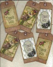 12 PRIMITIVE TAGS~Thank You!~HANG TAGS~folk~Grungy