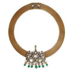 Necklace from Munnu Gem Palace Polki and Gold Mesh Chain Indian Jewellery