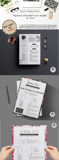 Modern 2 page resume template , cover letter template   creative - 2 page resume