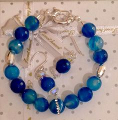 Gorgeous blue agate beads, silver sterling bracelet!!