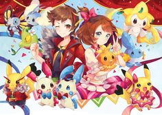 1boy 1girl blue_eyes bow brown_eyes brown_hair character_request clenched_hand confetti cosplay_pikachu cowboy_shot creature greyradian hair_bow haruka_(pokemon) haruka_(pokemon)_(remake) jacket mudkip one_eye_closed pikachu pink_bow pink_skirt pokemon pokemon_(game) pokemon_oras ribbon shirt short_hair skirt smile torchic treecko v yuuki_(pokemon) yuuki_(pokemon)_(remake)