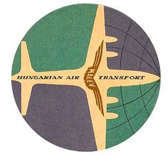 Hungarian Air mid century travel label.