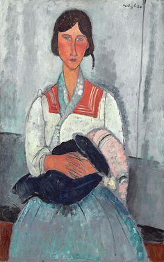 "mauveflwrs: Amedeo Modigliani - Gypsy Woman with. - mauveflwrs: ""Amedeo Modigliani - Gypsy Woman with Baby "" Amedeo Modigliani, Modigliani Paintings, National Gallery Of Art, National Art, Art Gallery, Italian Painters, Italian Artist, Fine Art, Gustav Klimt"