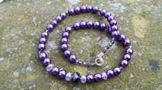 Purple Shell Pearl & Czech Crystal Bridal Necklace Sterling Silver Lobster Claw Clasp Sweet 16 Prom Bridesmaid Cadbury Purple