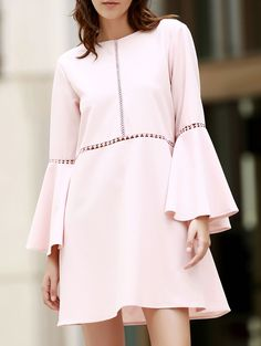Loose Cut Out Round Neck Flare Sleeve Dress PINK: Mini Dresses | ZAFUL