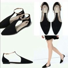 Zara black ankle flats Size 7.5 new with box Zara Shoes Flats & Loafers