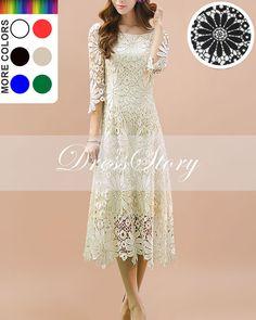 Half+Sleeved+White+Lace+Midi+Dress++Sunflower+Lace+por+DressStory,+$119.99