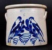 F.B. NORTON & CO / WORCESTER. MASS Double Parrot Stoneware Crock