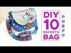 Diy 10 pockets bag ~ Bag tutorial | FREE TEMPLATE DOWNLOAD【Sewing Art】#HandyMum 手作diy HandyMum Lin TV7