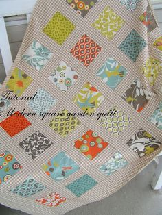 Tea Rose Home: Tutorial--Modern square garden quilt--