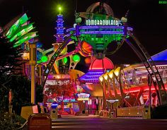 Gorgeous nighttime photo of Tomorrow Land by Tom Bricker on Flickr.
