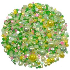This embellishment pack contains a luscious mixture of rhinestones and pearls in tones of green yellow and accents of pink The sparkly gems range in Nail Decorations, Ornament Wreath, Embellishments, Card Making, Packing, Gems, Range, Pearls