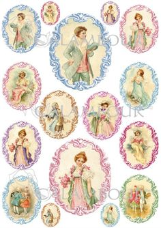 Calambour Mulberry paper for découpage and decoration. Pattern: postcards which illustrate children, flowers, baroque.