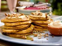 Carrot Cake Pancakes with Maple-Cream Cheese Drizzle and Toasted Pecans Recipe : Bobby Flay : Recipes : Cooking Channel