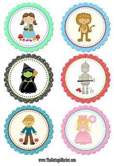 Wizard of Oz Tags/Cupcake Toppers 4th Birthday Parties, 2nd Birthday, Wizard Of Oz Gifts, Wizard Oz, Party Printables, Free Printables, Printable Tags, Leelah, Bottle Cap Images