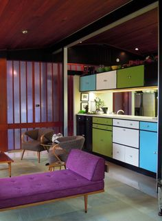Purple to the fore in this Alcoa Care-Free Home. #Midcenturymagazine #Purple #7