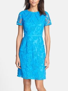 Perfectly pretty in sky-blue lace.