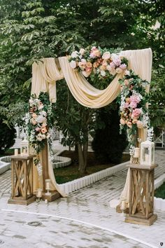 Wedding ceremony decorations drape with peach cloth .- Hochzeitszeremonie Dekorationen drapieren mit Pfirsich Tuch und Rosen anishenkow … Wedding ceremony decorations drape with peach cloth and roses anishenkow …, ceremony - Used Wedding Decor, Wedding Rustic, Trendy Wedding, Gold Wedding, Woodland Wedding, Spring Wedding, Rustic Vintage Weddings, Vintage Decoration Wedding, Peach Wedding Decor