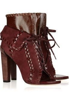 Alexander Wang Freja Suede and Leather Ankle Boots. oxblood.