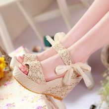 New Arrival Summer 2014 Shoes Women Pumps Fashion Wedge Women Canvas Platform high Heels Sandals For Lady Shoes(China (Mainland))