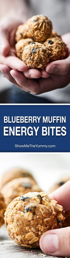 You only need 7 ingredients and 10 minutes to make these Blueberry Muffin Energy Bites! They're full of protein, taste like a muffin, and are gluten free and vegan. This healthy snack is one you can feel good about! http://showmetheyummy.com #blueberrymuffin #energybites