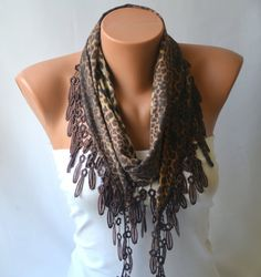 Leopard scarf  cotton jersey leaopard scarf  winter by bstyle, $20.00