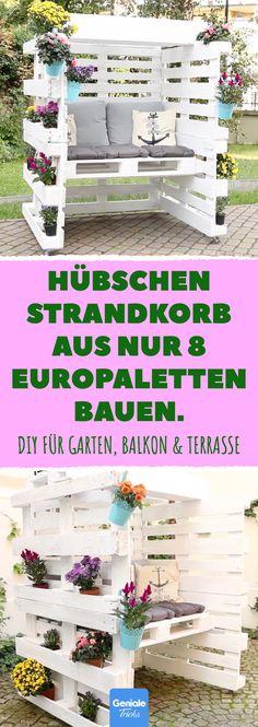 Hübschen Strandkorb aus nur 8 Europaletten bauen. DIY für Garten, Balkon & Terrasse. #diy #bauen #strandkorb #europaletten #garten #balkon