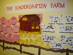 Another cute bboard, using children's artwork (pigs, chicks, cows) came together. This would be a cute bboard to go along with Mrs. Wishy Washy or farm theme. Farm Animal Crafts, Farm Crafts, Farm Animals, Preschool Classroom, Preschool Crafts, Preschool Farm, Classroom Ideas, Preschool Plans, Classroom Door